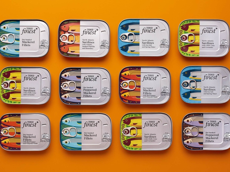 Tesco Finest illustration packaging filet fish mackerel sardines sardine