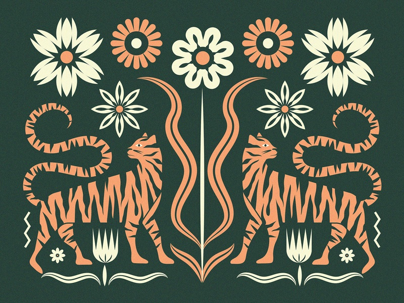 Tigers cat pattern illustration symmetry floral flowers flower tiger