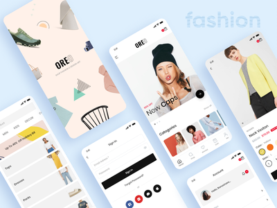 Oreo Fashion Full React Native App for Woocommerce uiux ui typography ecommerce app fashion app api wordpress uxdesign clean clean ui app design ecommerce