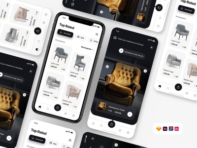 Furniture App [Download] landing page design sketch figma freebie xd furniture ui ecommerce furniture freebies freebie