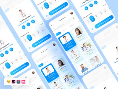 Free Doctors App free sketch landing page design uiux apps xd ui kit patient medical doctor templates xd figma sketchfab freebies