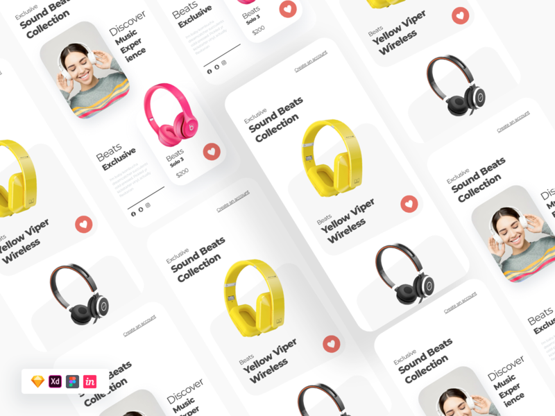 Free Ecommerce UI illustration music modern landing page uiux headphones ui design figma xd sketch ui freebie
