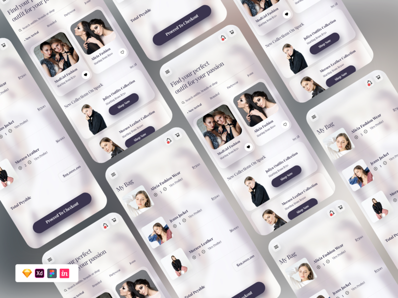 Glass Effect Shop UI UX uxdesign figma sketch freebies app ui ux shopping app shop ux shop ui uiux ui glass freebie