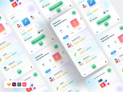 Free Dashboard Template app ui xd ux figma sketch freelance pills nurse dashboard doctor ui free freebie
