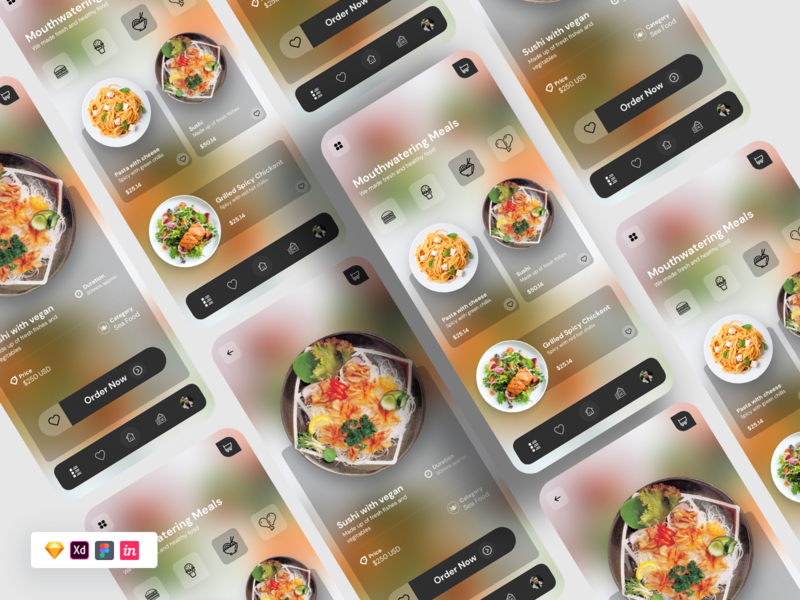 Food UI landing page free ui food app chinese blur glass sketch figma freebie foodie food