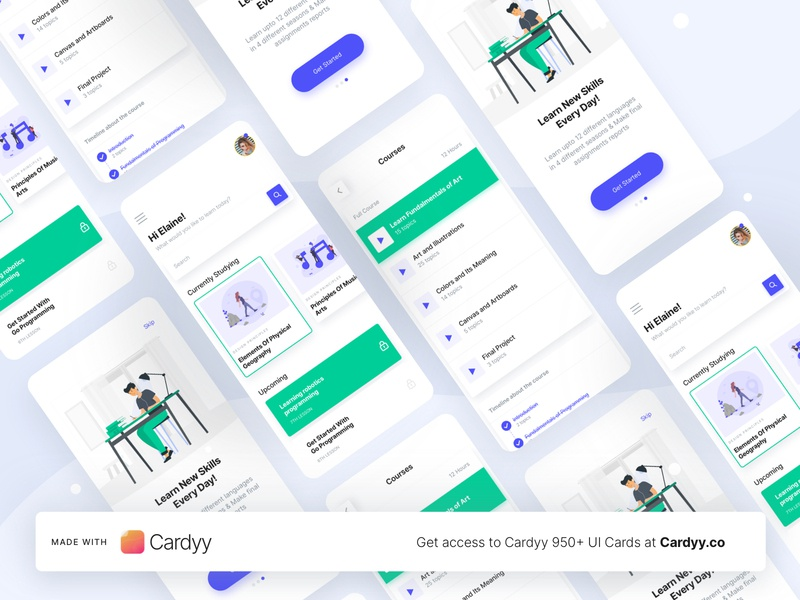 E learning UI Cards - Made With Cardyy uiux uicards uikit figma sketch education e learning