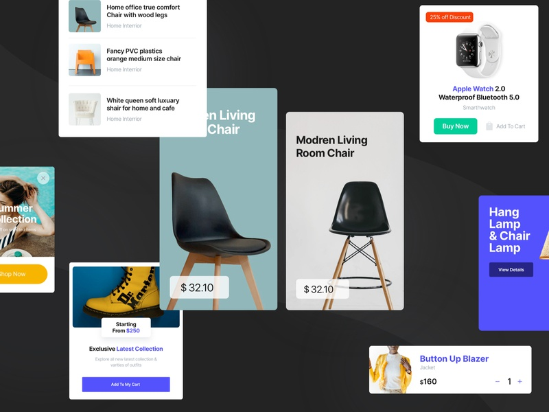 E-Commerce Cards UI - Made With Cardyy figma sketch clothesui furnitureui appui uiux userexperience userinterface uidesign ecommerce