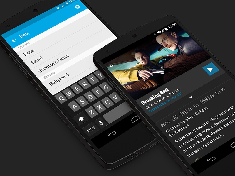 Search as you type android ui flat material design search field keyboard show breaking bad blue grey