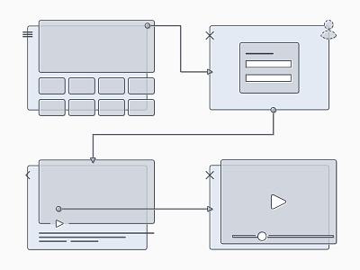 VOD Wireframe Kit rounded stroke greyscale monochrome sketch asset wireframe vod kit