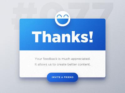 Daily UI #077 – Thank You feedback joy thankful happy blue button modal interface noise grainy thanks dailyui