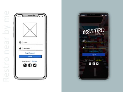 Restro near by me login screen