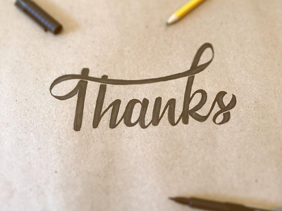 Giving Thanks lettering hand