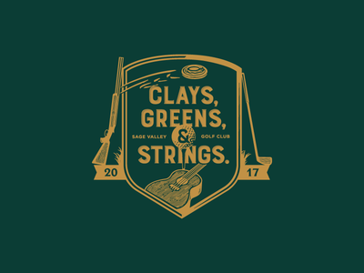 Clays, Greens, & Strings. guns guitar golf eventbranding screenprint onecolor