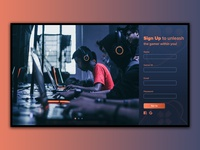 Gaming website sign up page