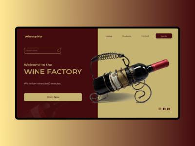 Wine website landing page