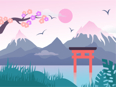 Landscape Japan web painted nature vector sakura mountains japanese illustration art