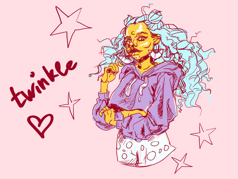 Twinkle, twinkle little star trend humanization humanize nice photoshop art blue hair pink shine star twinkle characterdesign girl character girl art painted sketch concept drawing characters illustration