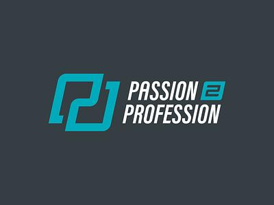 Passion 2 Profession | Logo italic condensed lineart line p2p 2 p passion business logo monogram logo