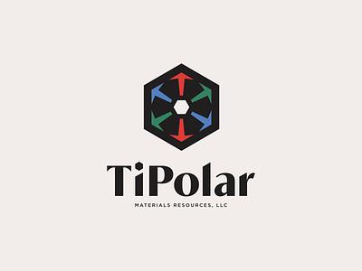 TiPolar | Logo laboratory lab titanium serif arrows arrow light science technology blue green red rgb hexagon logo hexagonal hexagon