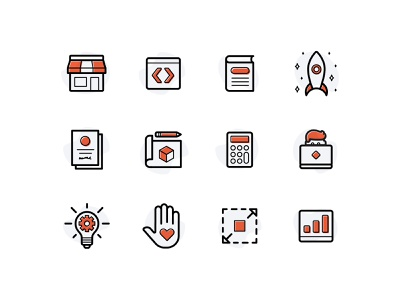 Launch | Icons rocket innovation freelance book shop code lines lineart offset icon iconset icons