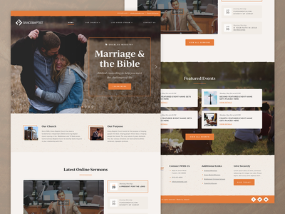 Grace Baptist Church | Website orange beige tan warm baptist bible texture church ux ui web web design website