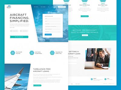 AvCap | Website sky cloud wing green blue gradient plane angle web design web website loan financial aviation
