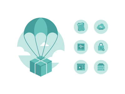 Care Package | Icons icon set iconset illustrations icons sky blue teal parachute package database security lock hosting erver cloud monitor list icon care package