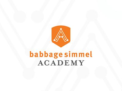 Babbage Simmel Academy | Logo logo design branding vector education logo academy circuitry circuit techy tech orange shield shield logo