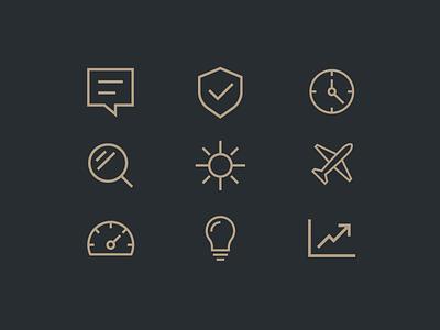 LMA | Icons sun shield line art lineart icon gold plane aircraft
