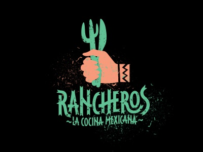 Logo Rancheros mexican restaurant hand cactus typography black turquoise