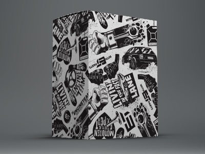 Engineteam packaging auto parts packaging black white texture car engine illustration grunge box