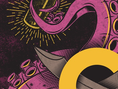 upcoming print sneak peek pirate grunge illustration print vector octopus