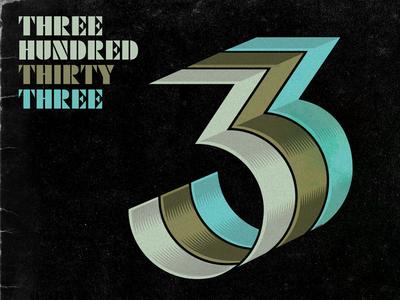 333 logo gold black retro music numbers three
