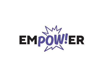 Empower power violet black pow bubble comic logo