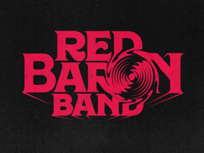 Red baron band logo plane psychedelic 3d black red propeller typography logotype vintage retro music rock