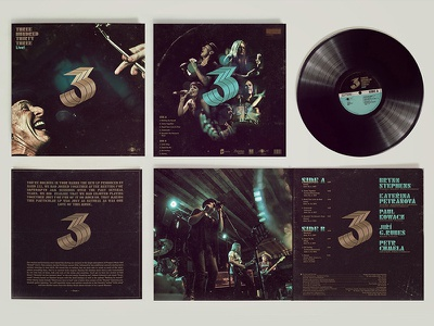 LP cover and logo for rock band 333 music band rock three logo turquoise gold label black packaging lp vinyl