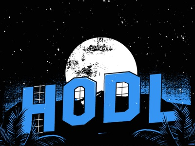 bitcoin themed illustration sneak peek night sign moon palm hollywood btc cryptocurrency bitcoin