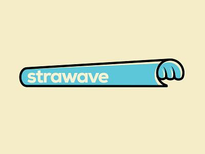 strawave outline surf cylinder logotype logo blue ocean wave straw