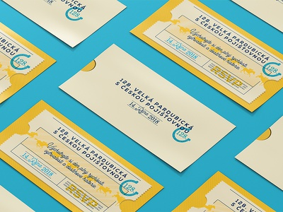 Steeplechase invitation card ticket retro vintage yellow blue horse steeplechase card invitation