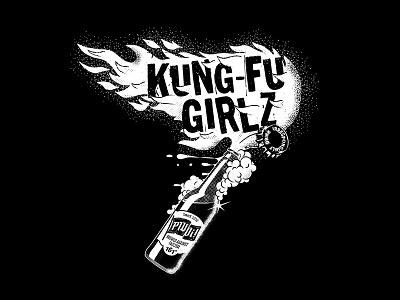 Kung-Fu Girlz merch tshirt flags merchandise merch flames bottle fire molotov beer punk music band illustration