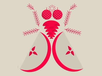 another christmas fly exploration illustration ball branch cone apple fly housefly christmas