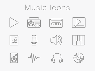 Music Icons Set microphone sketch app pixel perfect wave audio book media radio music iconset icon icons pictograms