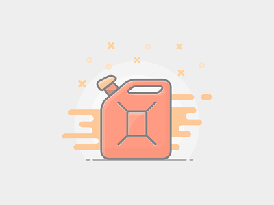 Jerrycan fuel oil sketch outlined icon illustration flat jerrycans