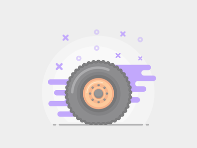 Wheel sketch outlined auto wheel illustration icon color style flat