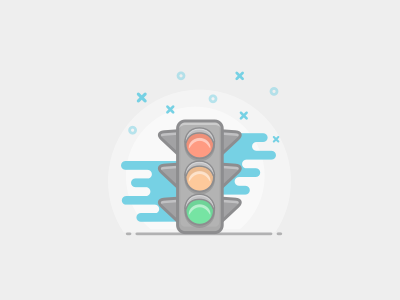 traffic light vector light style sketch outlined illustration icon flat color car