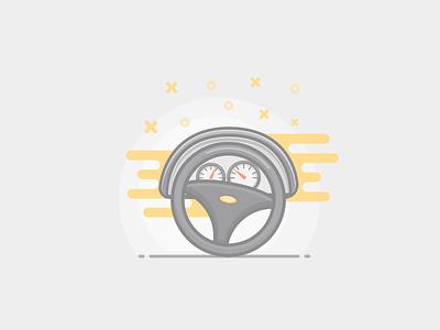 Steering Wheel dashboard sketch vector steering car illustration wheel color style flat