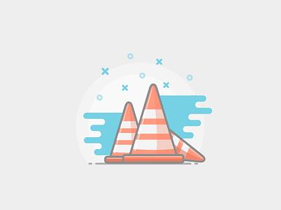 Road Cones icon stripes sketch vector auto cones road color style flat
