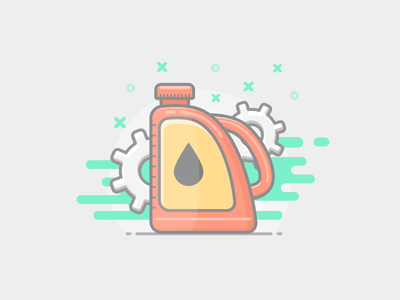 Oil Can cog wheels sketch app outlines can oil icon vector color style flat