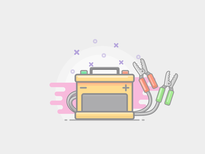 Power Battery sketch app outlines charger power icon vector color style flat