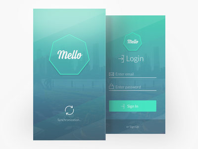 Sync And Login app colors sign in interface mello screens cards ux login sync ui
